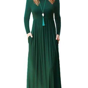 Dresses & Skirts - Dark Green Maxi Dress (with pockets! 😱)